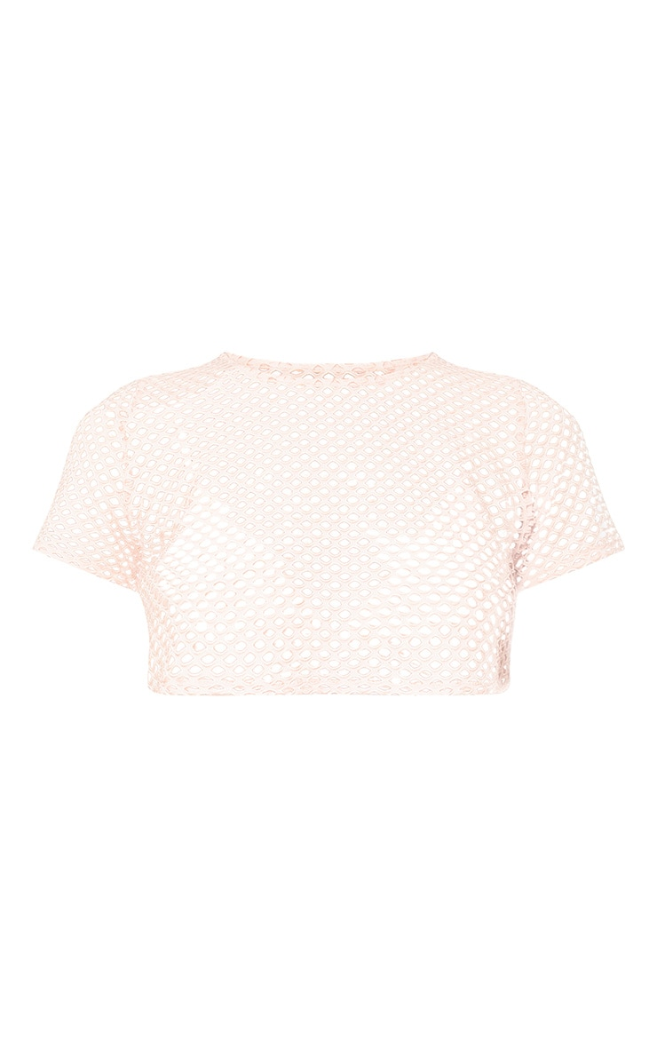 Pink Fishnet Shortsleeve Crop Top 3