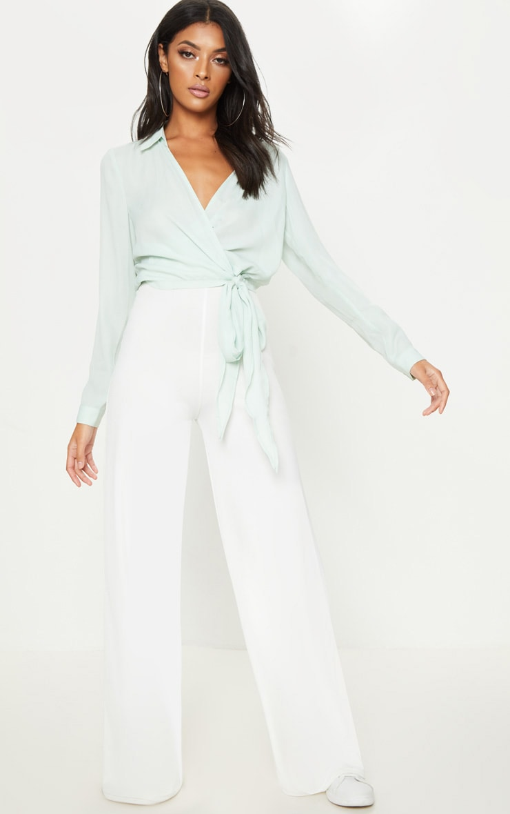 Mint Wrap Front Tie Side Blouse 4