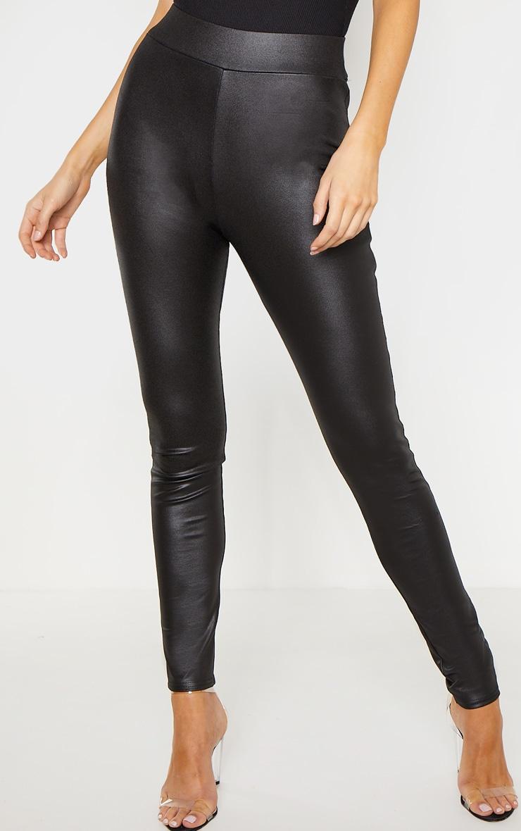 Tall Black Wet Look Skinny Pants 2