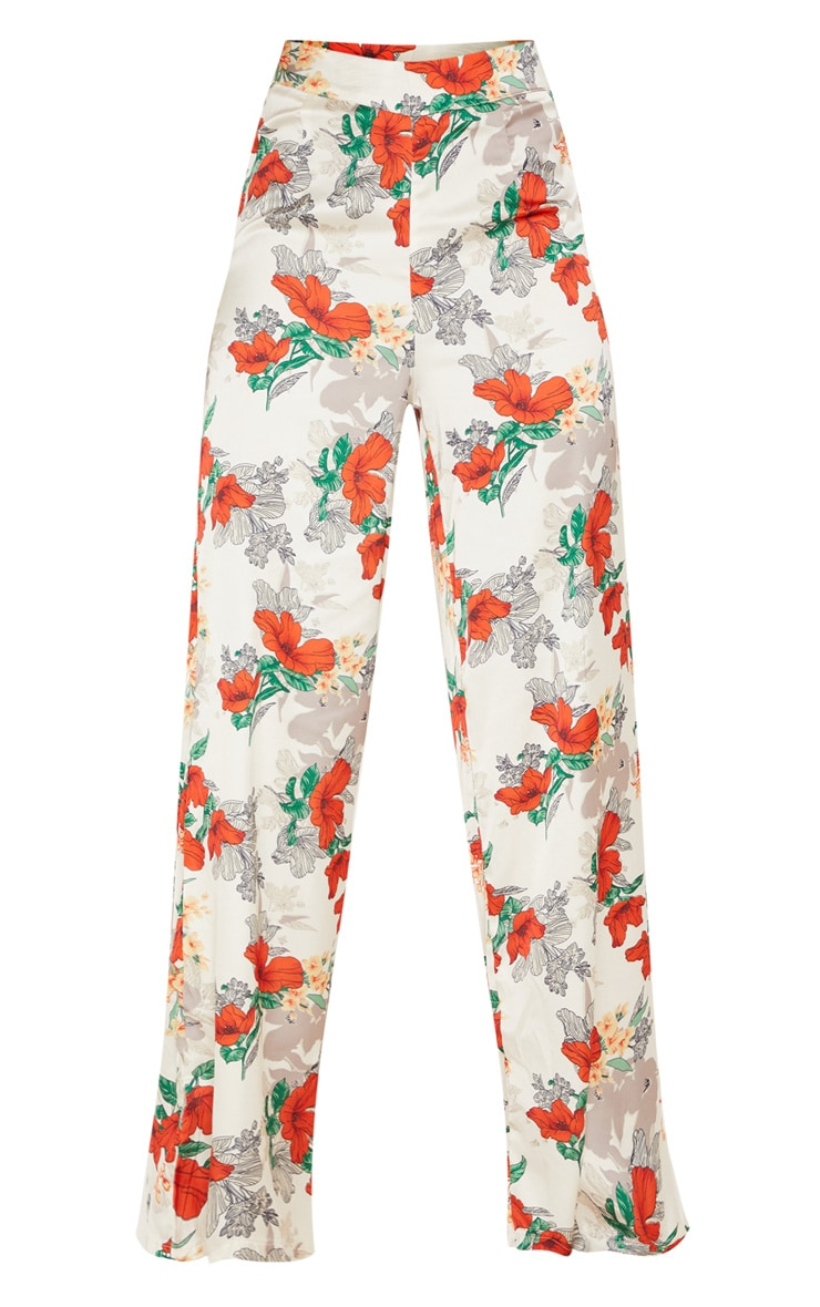 Satin Floral Print Wide Leg Trouser 3
