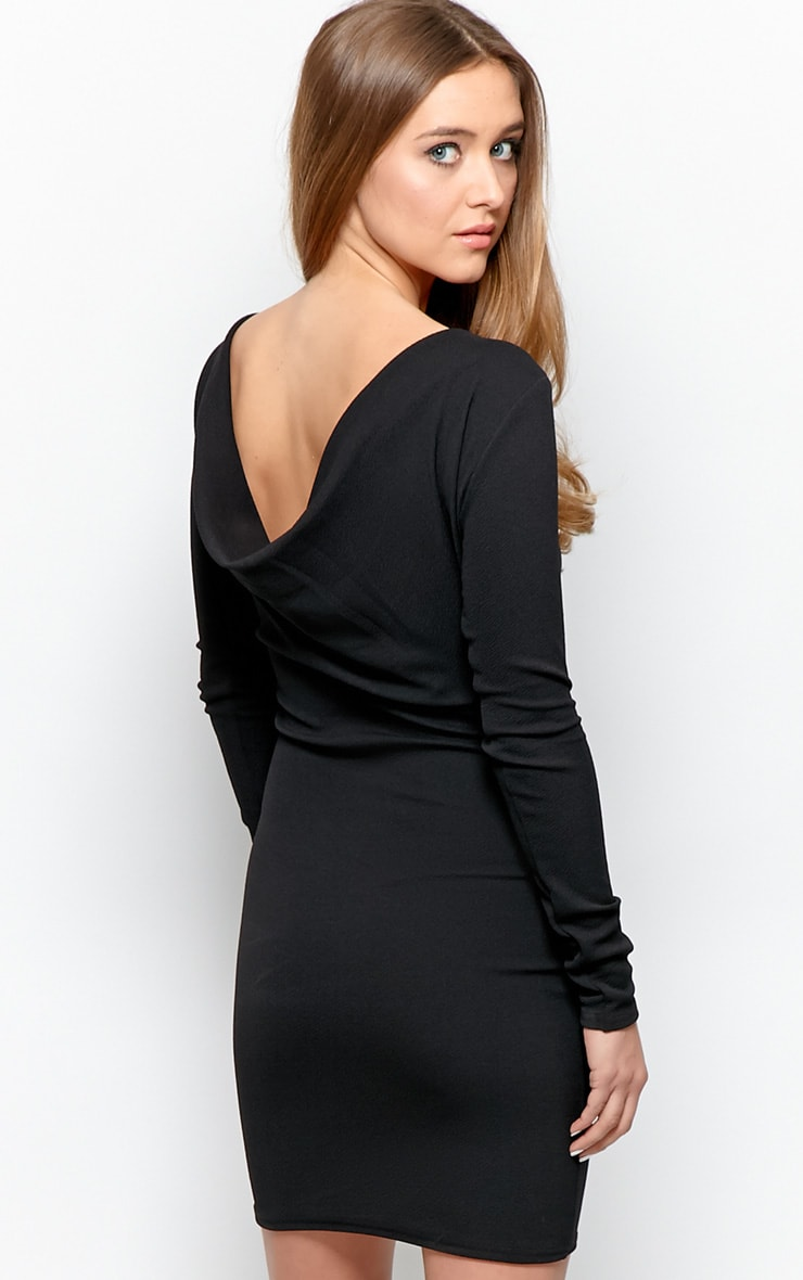 Gracie Black Cowl Back Dress 1