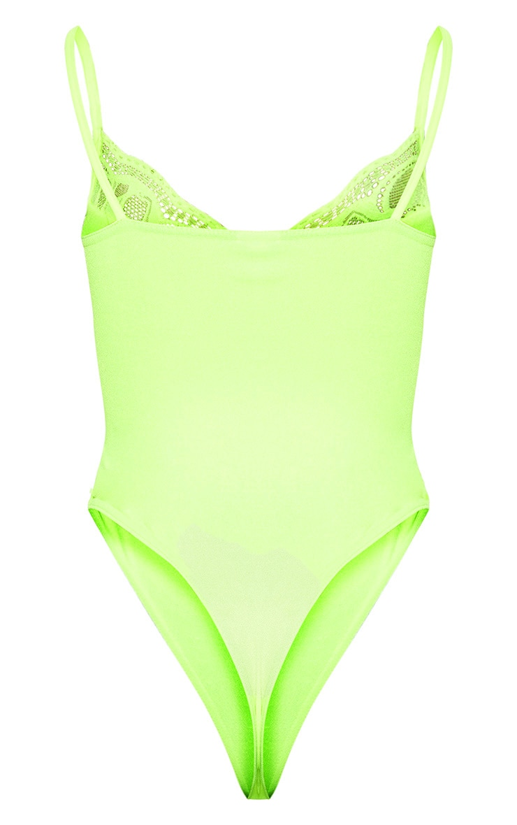 Neon Yellow Lace Mix Strappy Bodysuit 4