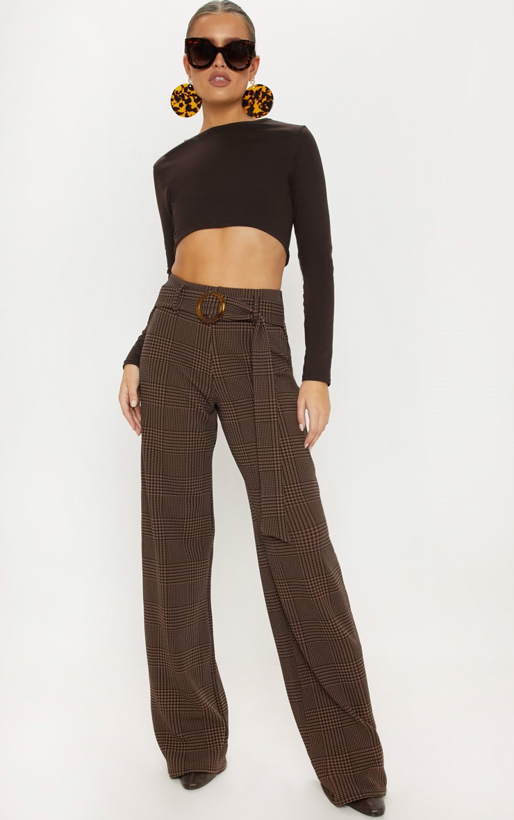 Chocolate Check Tortoise Shell Belted Wide Leg Trouser