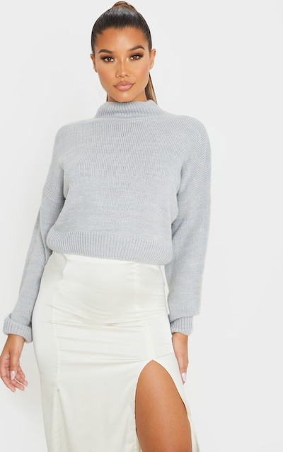 Grey High Neck Fluffy Knit Cropped Jumper