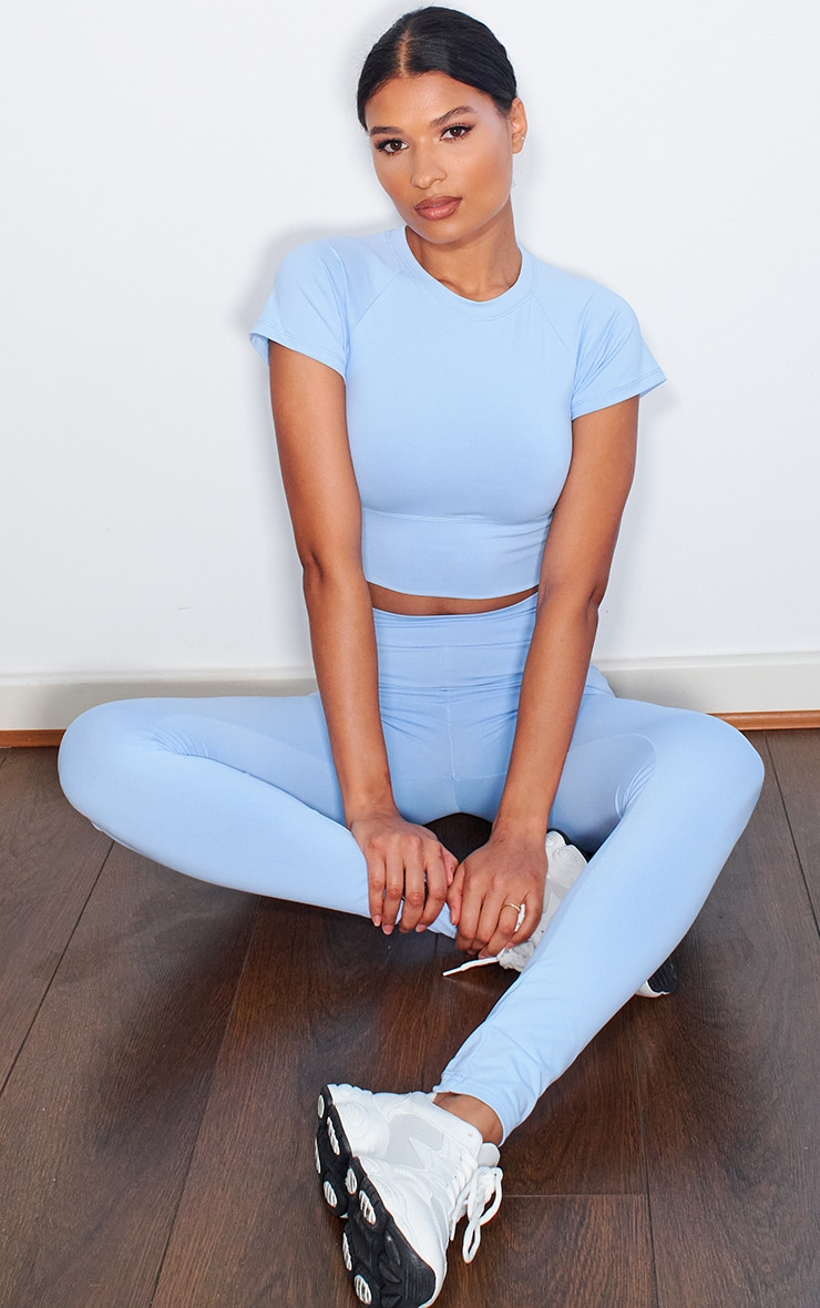 Dusty Blue Cropped Sports T Shirt 3