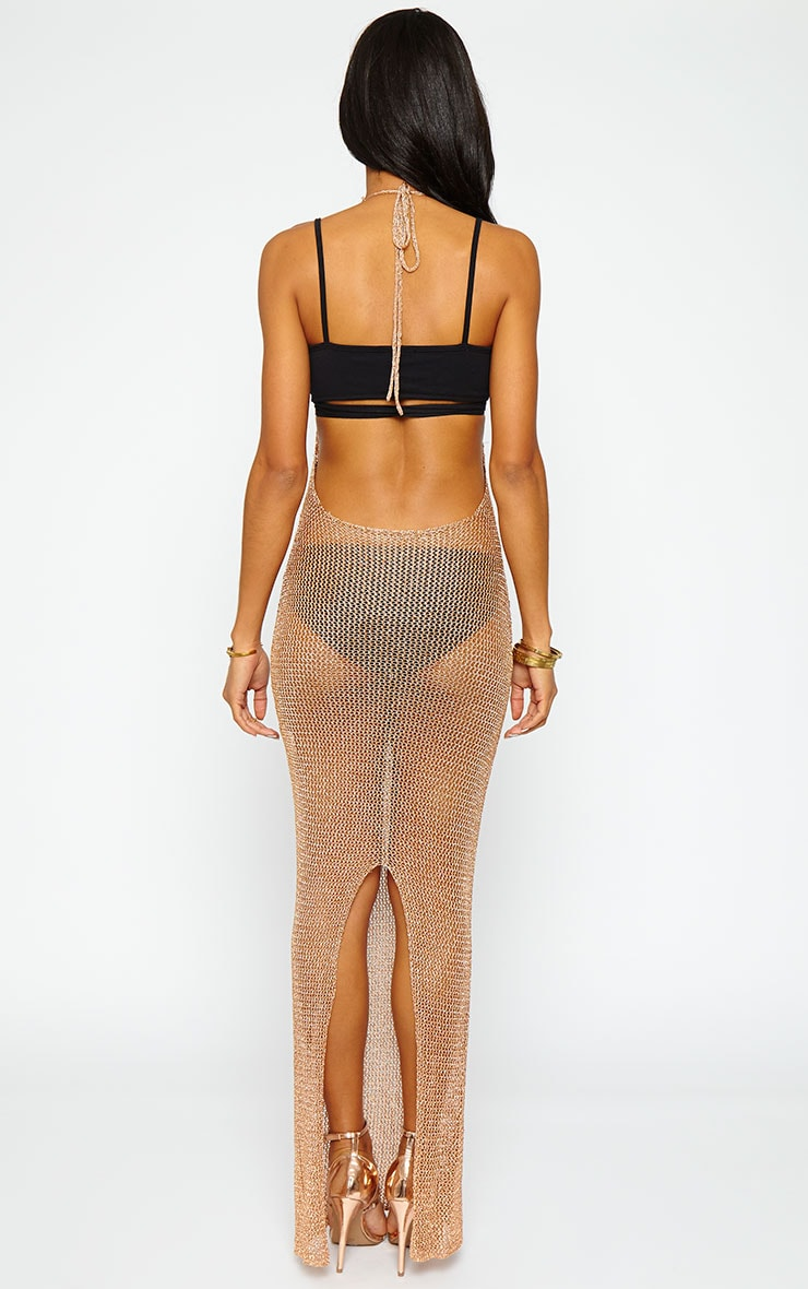 Sahara Gold Metallic Knitted Maxi Dress 2