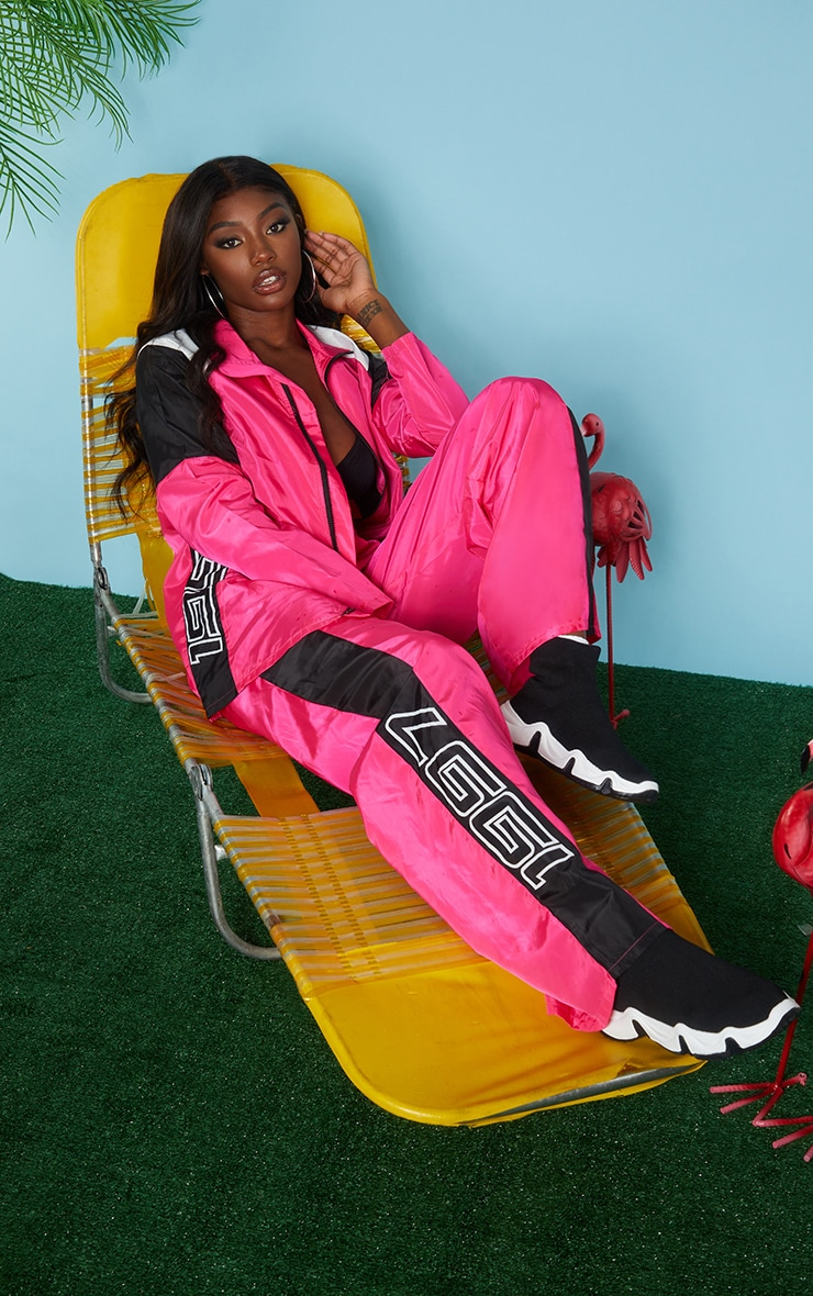 Pink Nylon 1997 Straight Leg Sports Joggers 1