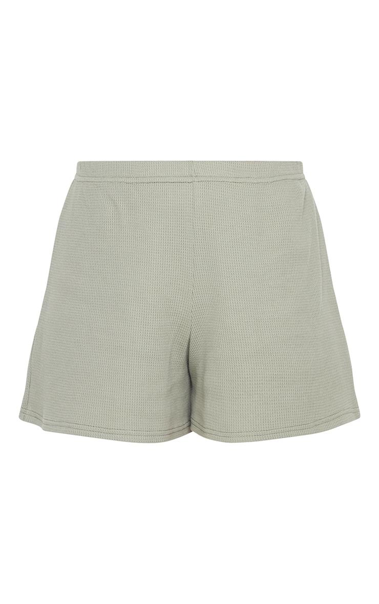 Sage Green Waffle Knit Shorts 6
