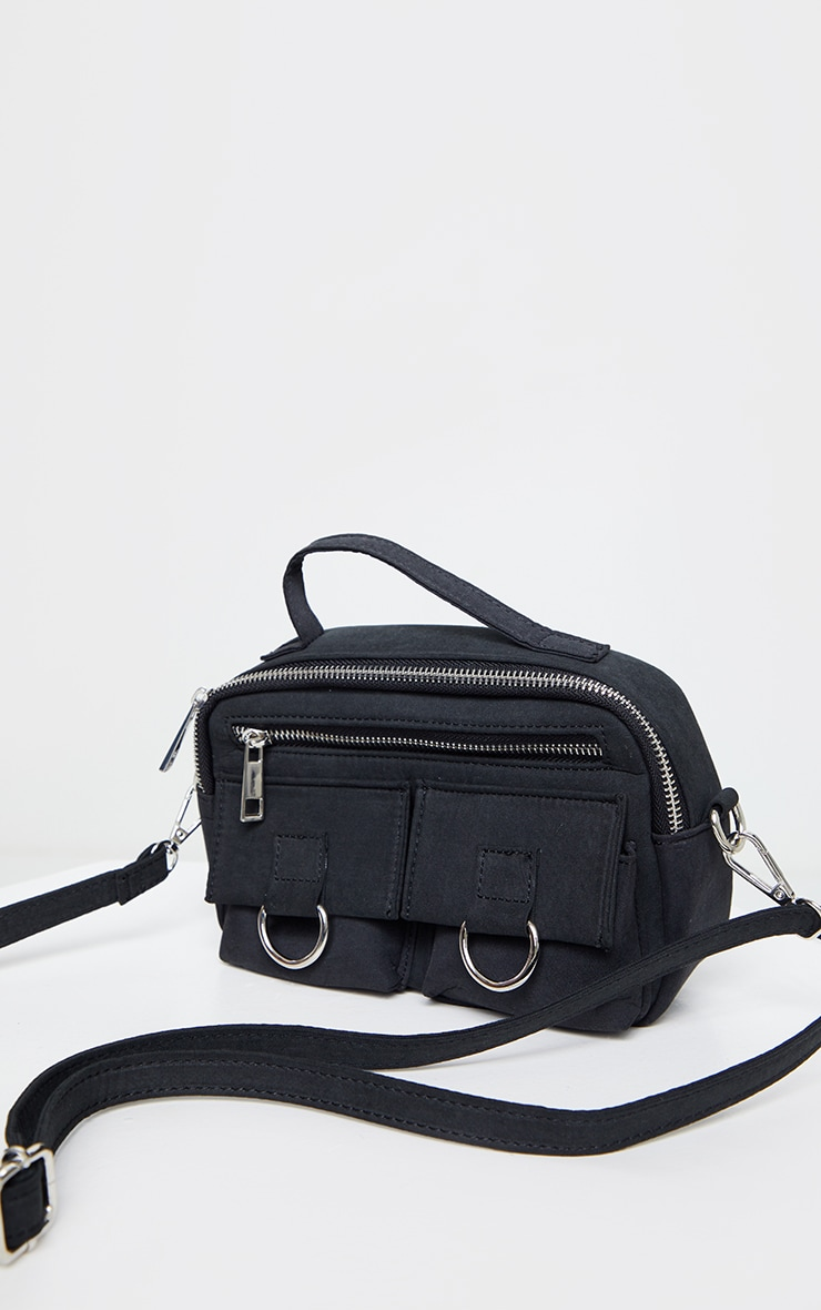 Black Rectangle Silver Ring Cross Body Bag 2