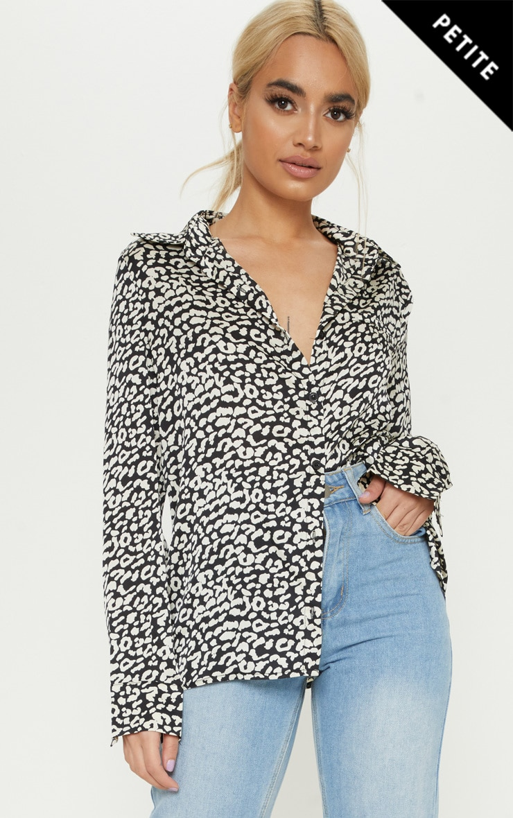 Petite Leopard Abstract Print Oversized Shirt