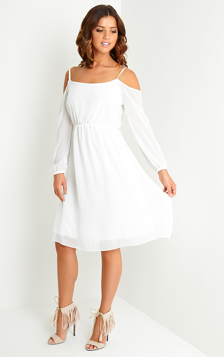 Jena Cream Cold Shoulder Chiffon Dress 3