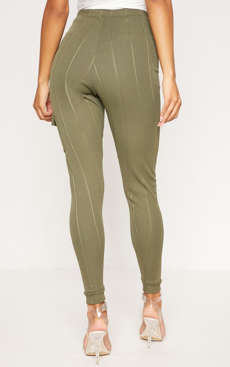 Khaki Bandage Pocket Detail Skinny Trouser 4