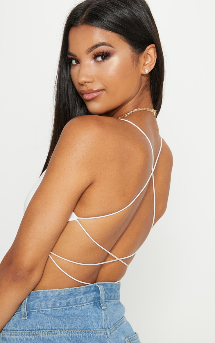 Cream Slinky Spaghetti Strap Backless Bodysuit 6