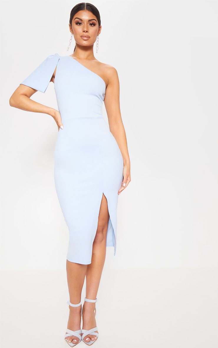 Baby Blue One Shoulder Bow Detail Midi Dress 1