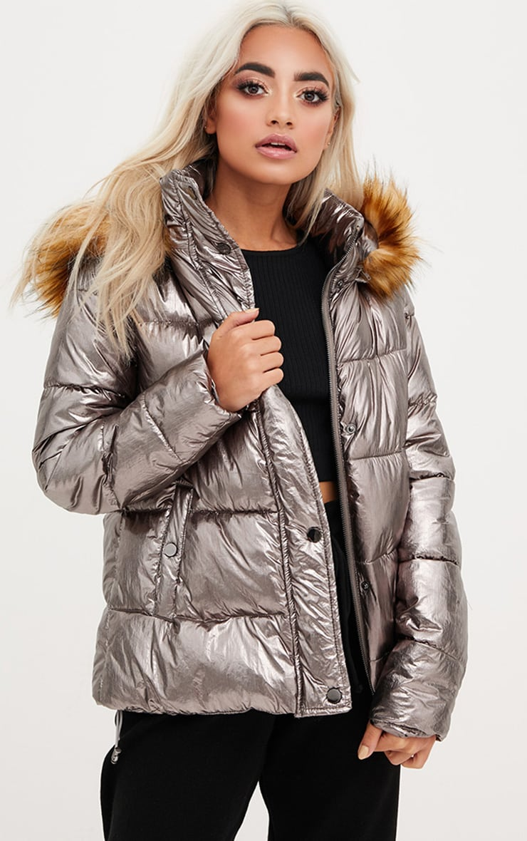 Gunmetal Foil Puffer Jacket With Faux Fur Hood 1