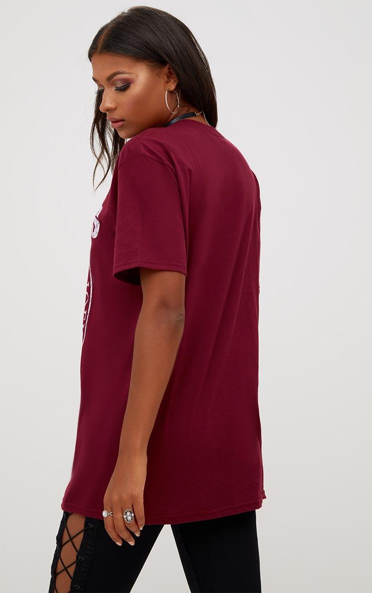 Burgundy RAMOMES Slogan Oversized T Shirt 2