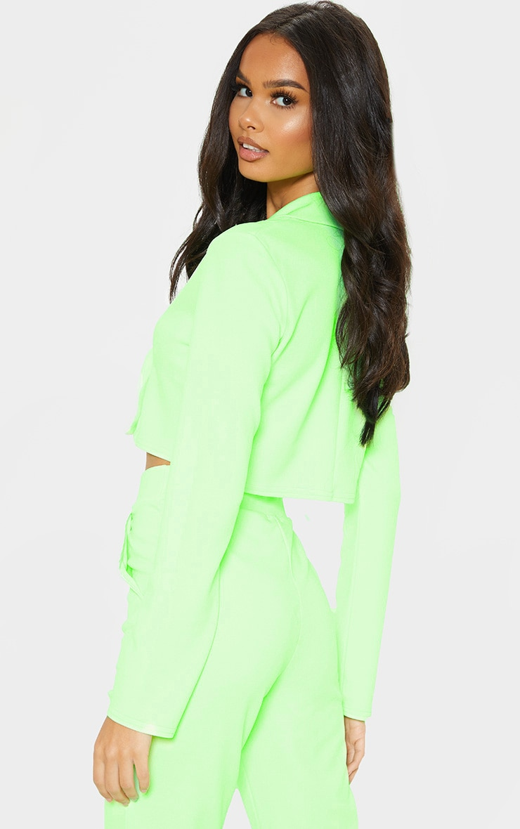 Neon Green Cropped Suit Blazer  2