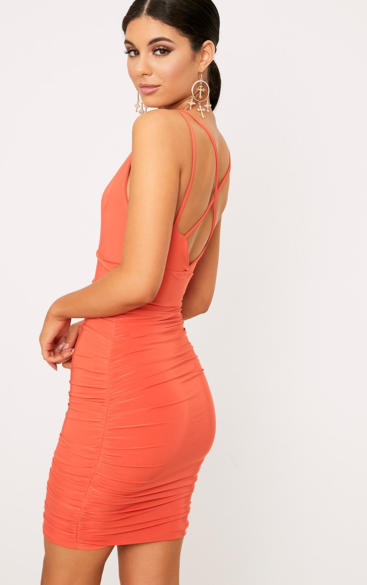 Agness Coral Cross Back Ruched Bodycon Dress 2