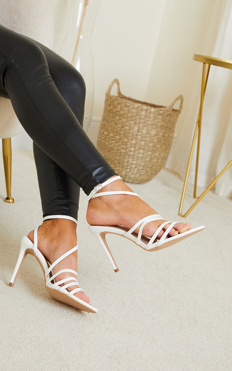 White Wide Fit Point Toe Strappy Stiletto Heels 4