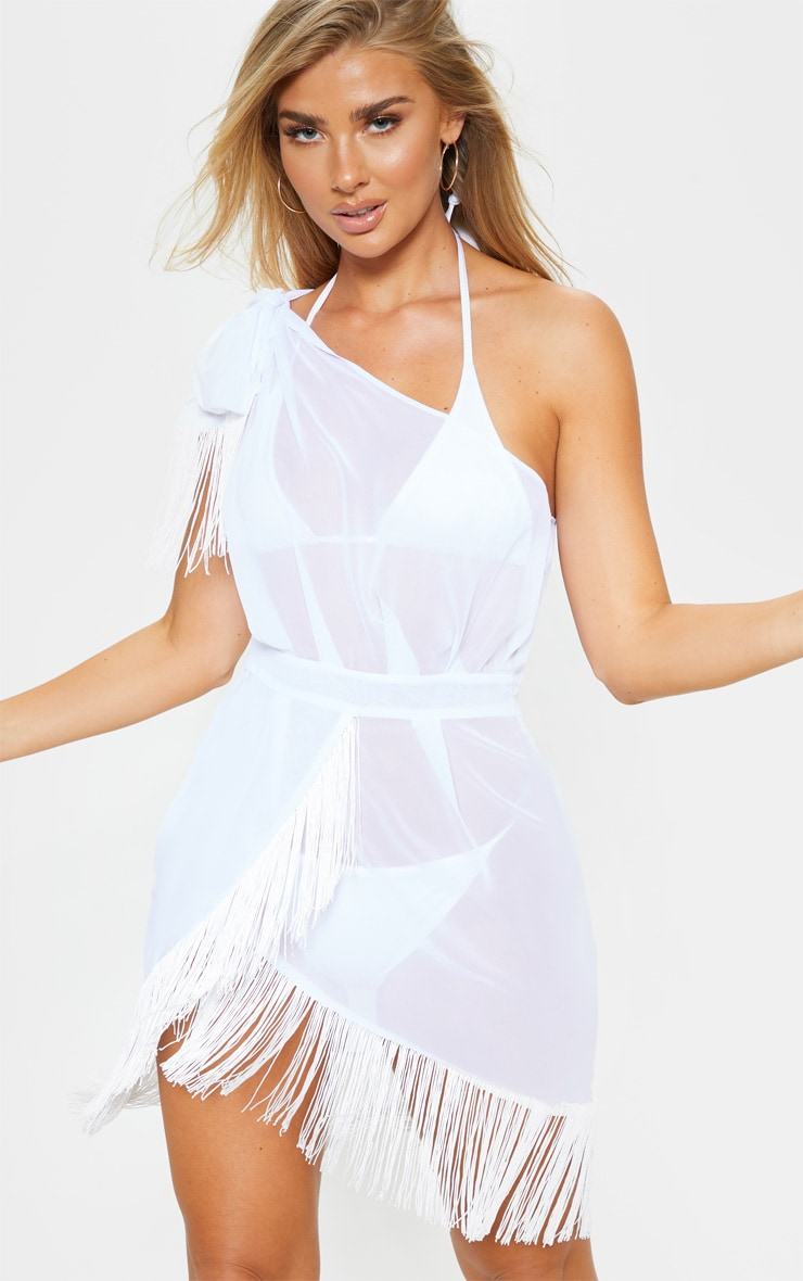 3bc61c3899b White Asymmetric Fringe Beach Dress image 1