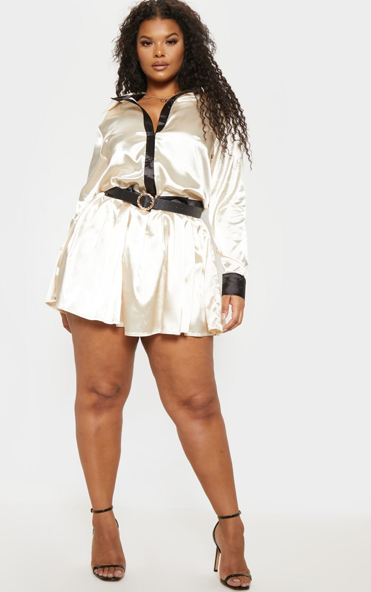 Plus Cream Pleated Skirt Shirt Dress  4