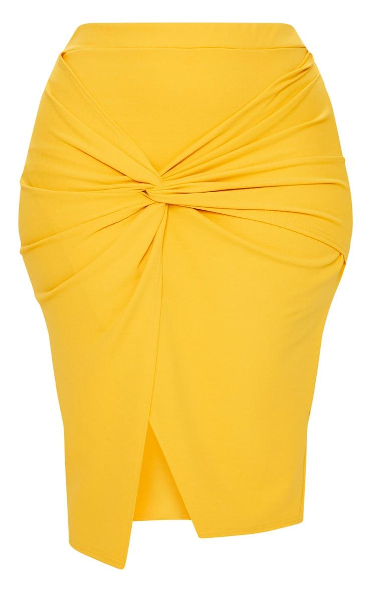 Plus Mustard Knot Front Midi Skirt 3