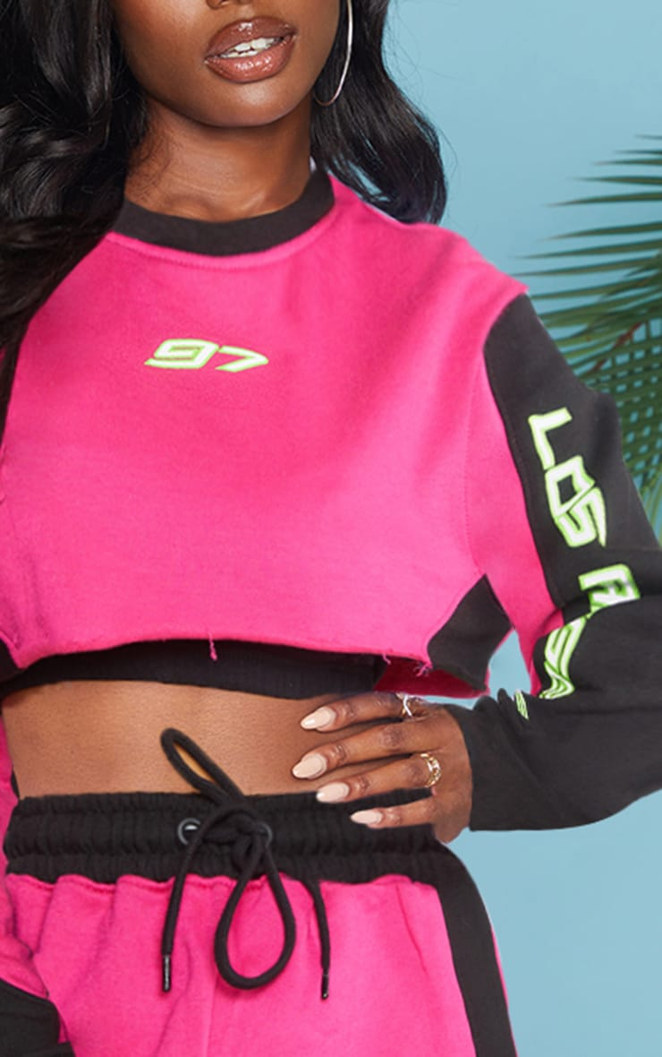 Hot Pink 97 Printed Crop Sweater 4