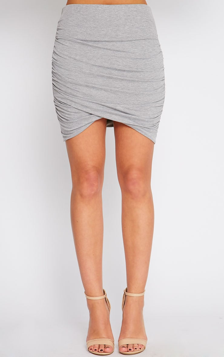 Grey Jersey Ruched Mini Skirt  3