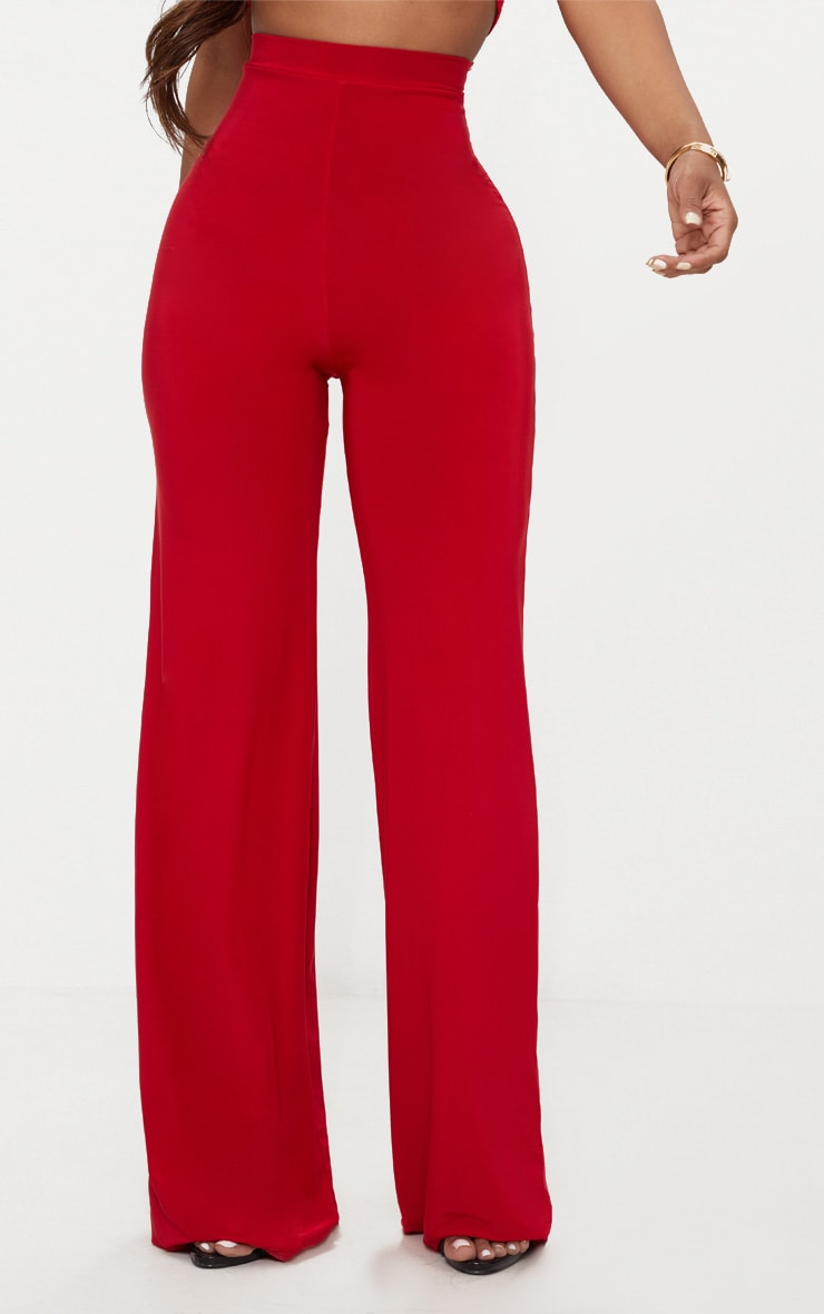 Shape Red Slinky Wide Leg Trousers 2