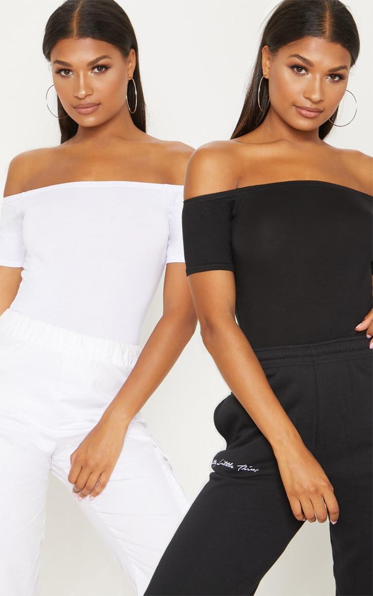 Basic Black/White 2 Pack Bardot Short Sleeve Thong Bodysuit 1