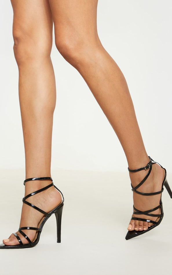Black Patent Strappy Point Toe Heels 1