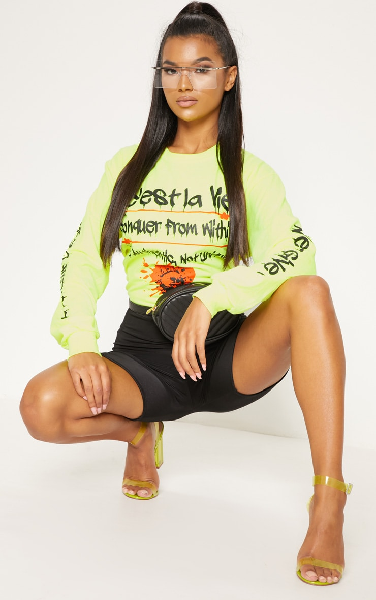 Yellow Cest La Vie Slogan Long Sleeve Top 4