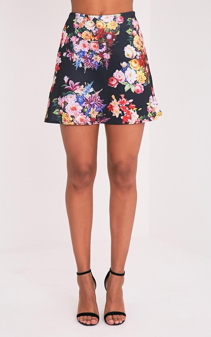 Tamira Black Floral A-Line Mini Skirt 2