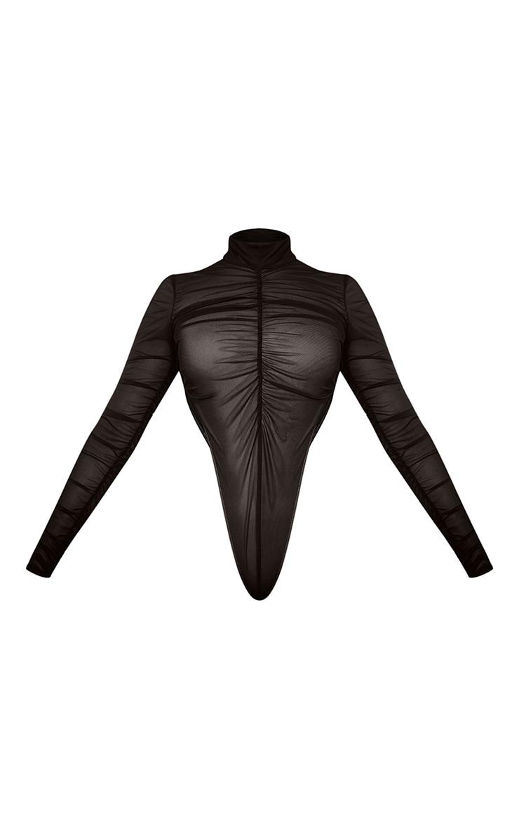 Black Ruched Mesh High Leg Bodysuit 6