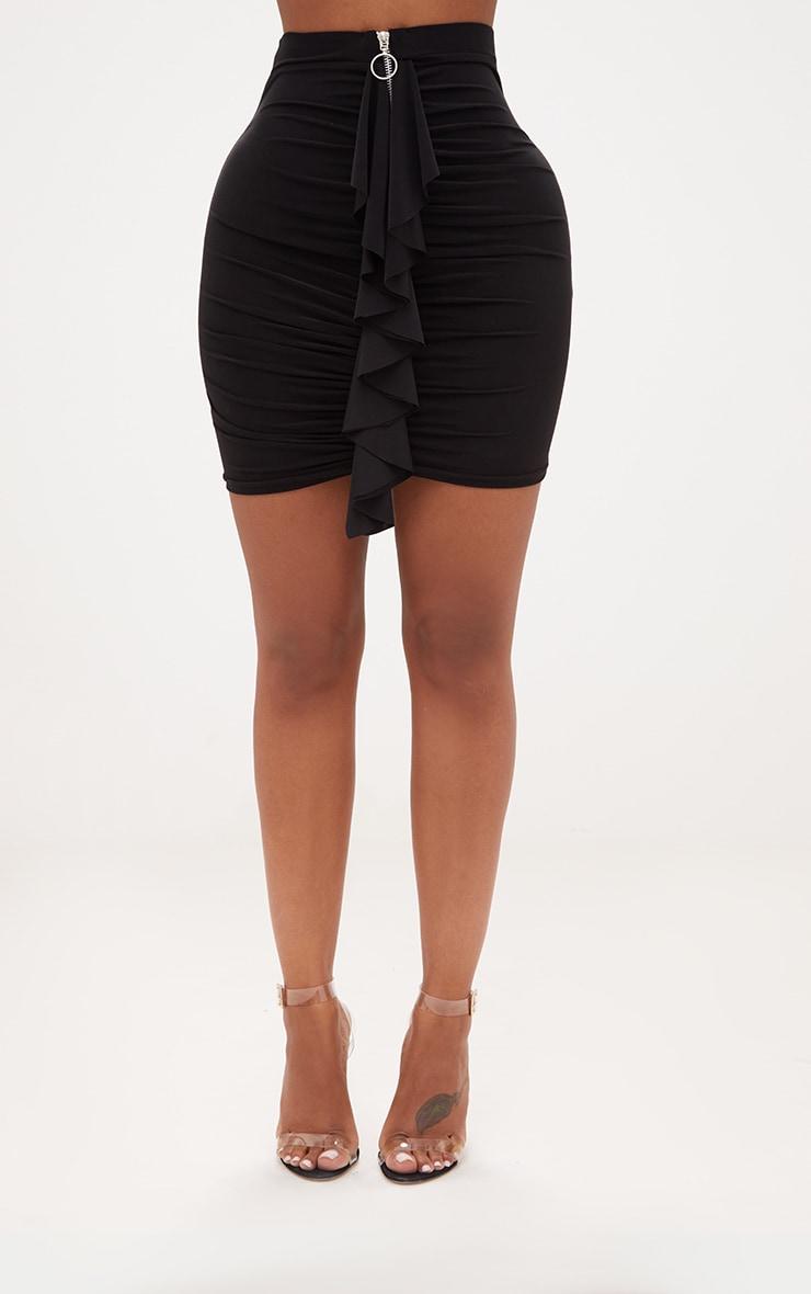 Shape Black Ruched Zip Front Mini Skirt  2