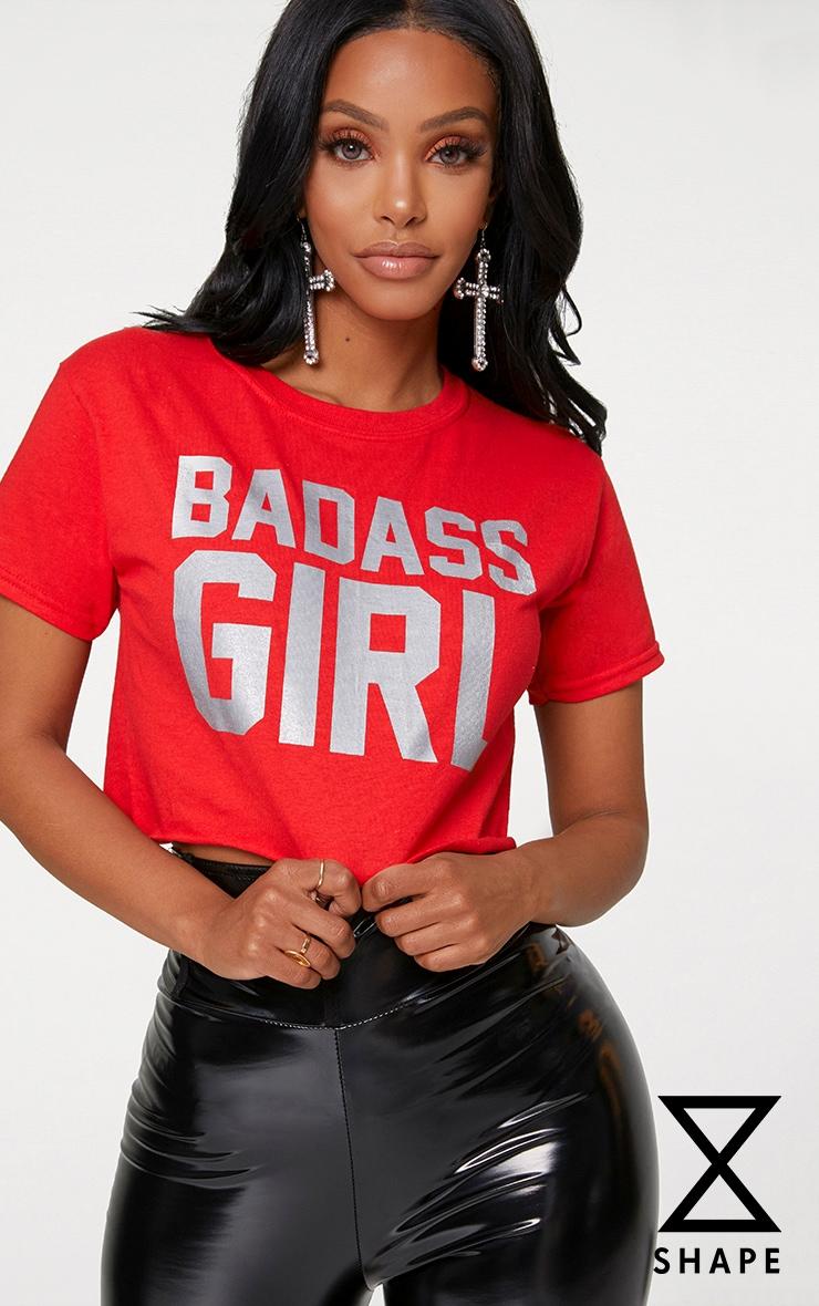 Shape Red Badass Girl Slogan Cropped T-Shirt 1