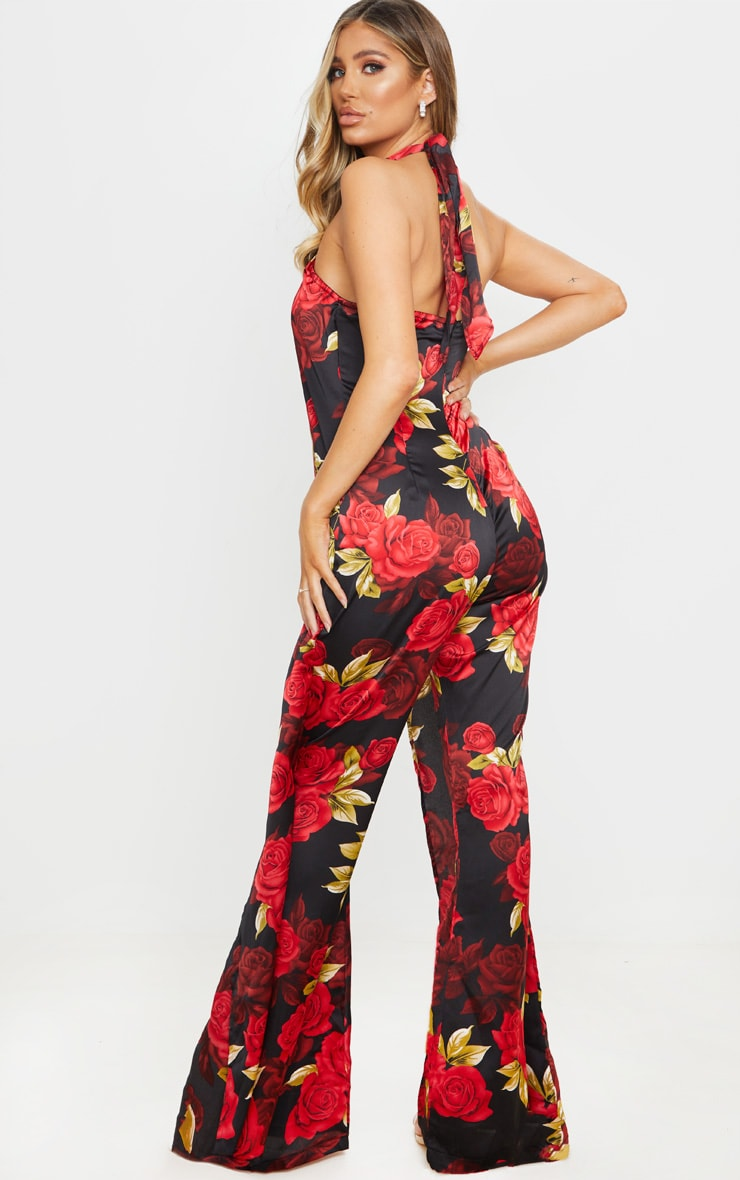 Black Rose Print Halterneck Wide Leg Jumpsuit 2
