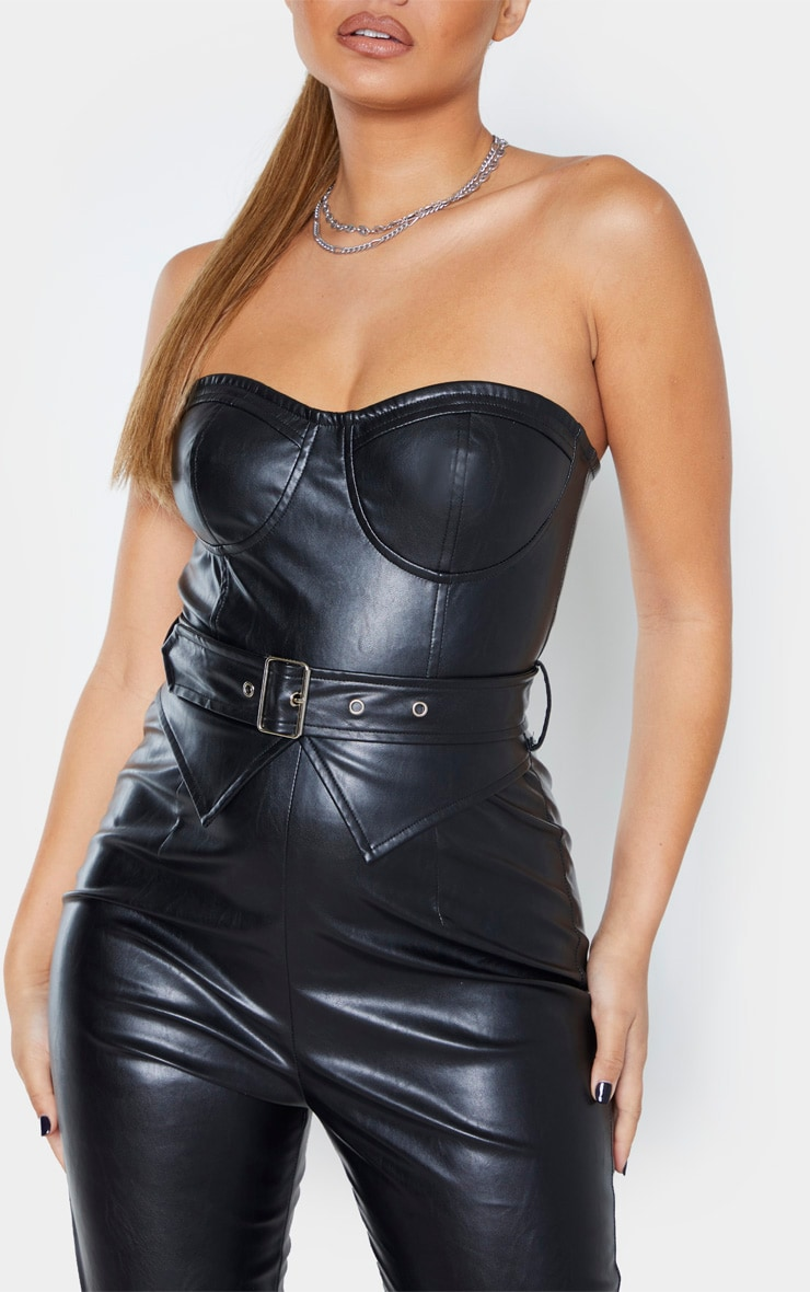 Black Faux Leather Belted Bandeau Jumpsuit 5