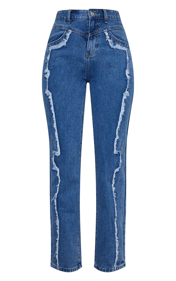 Mid Blue Wash Frayed Seam Front Long Leg Jeans 5