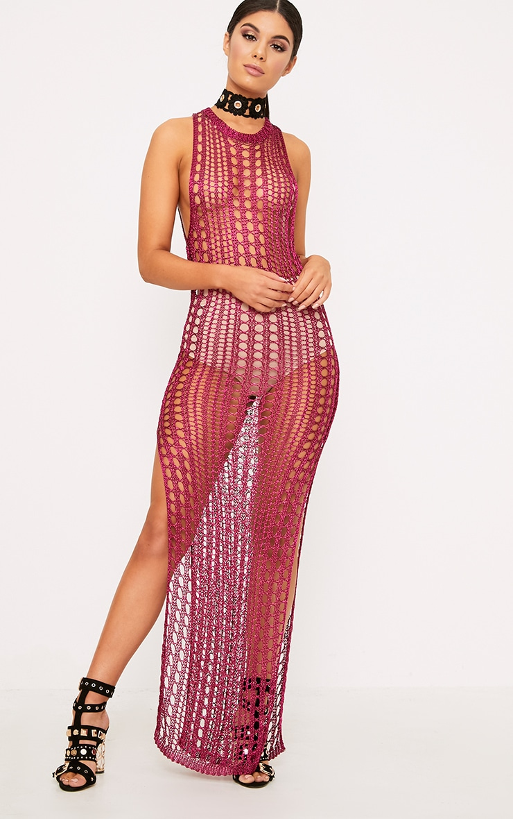 Elissa Bright Pink Metallic Open Knit Maxi Dress 1