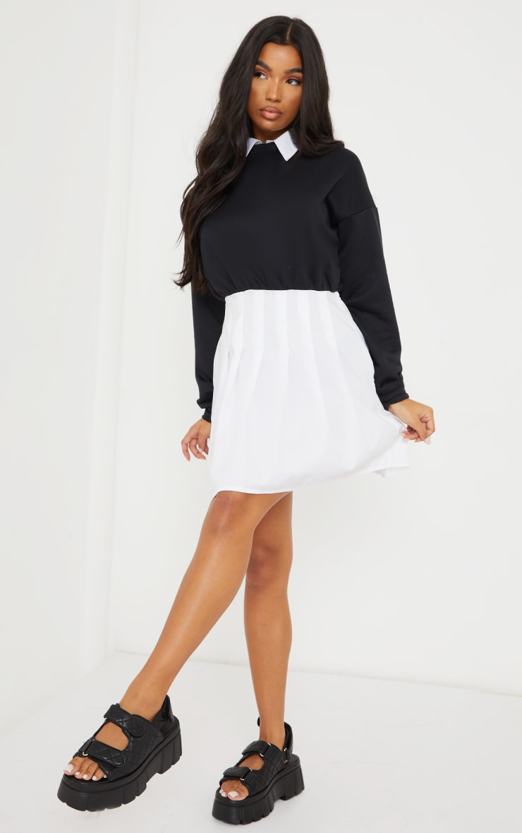 Black Sweat Contrast Poplin Skater Skirt Jumper Dress 1