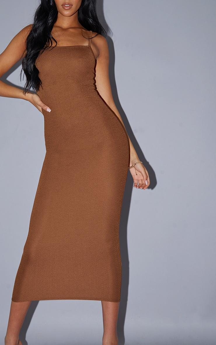 Tall Chocolate Strappy Midi Dress 4