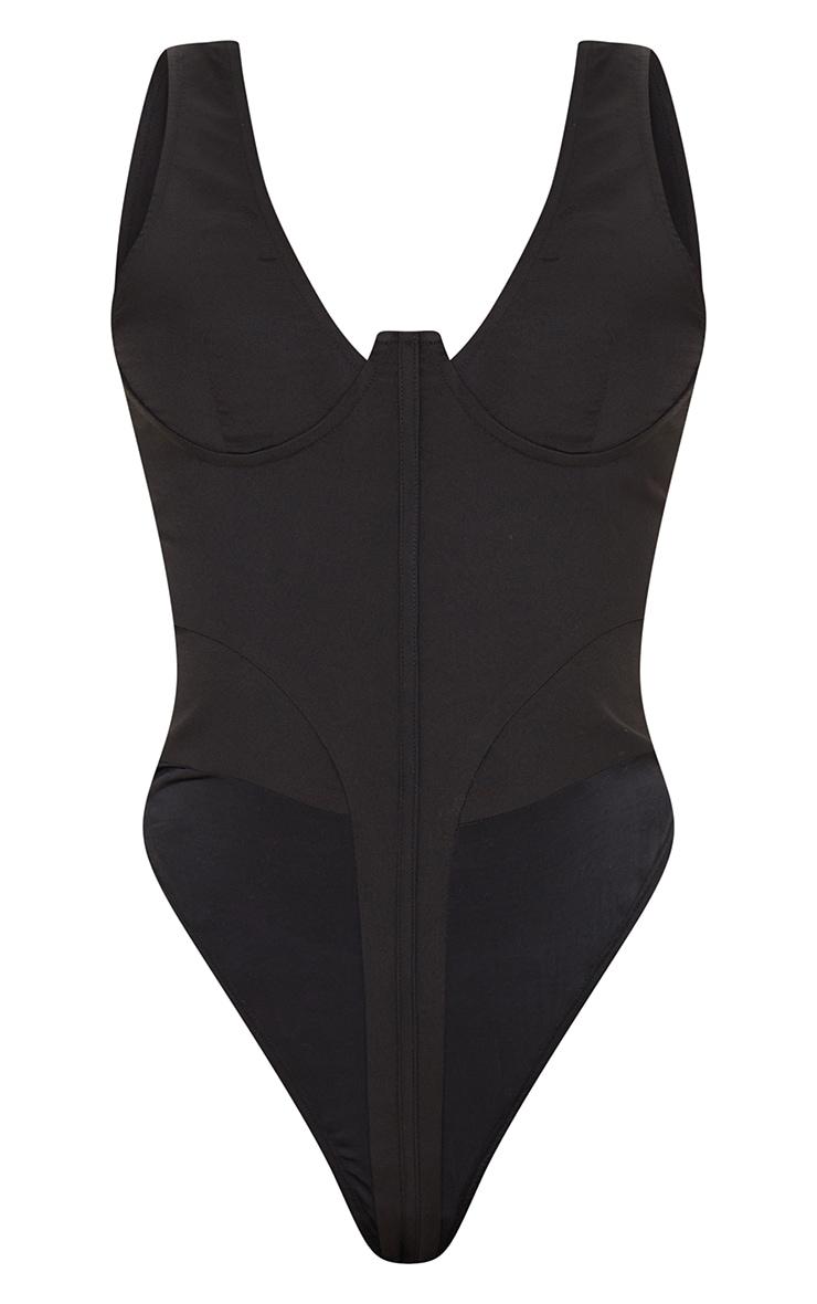 Tall Black Corset Detail Woven Bodysuit  5