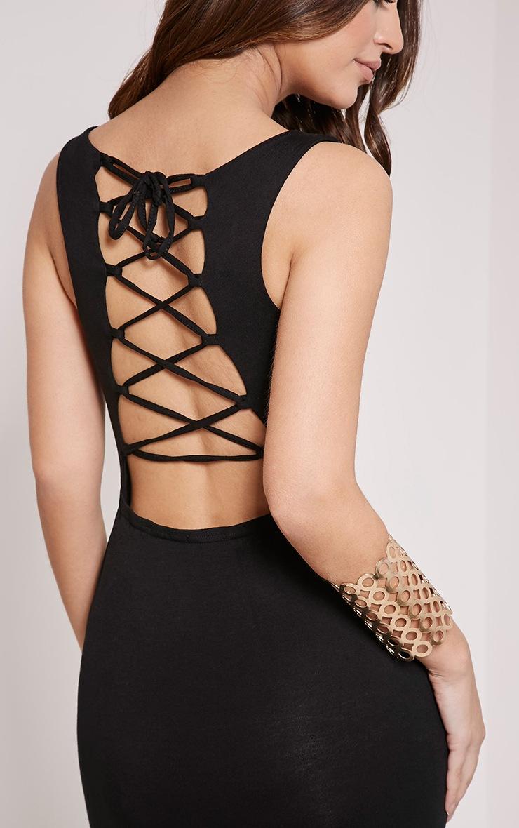 Jamaia Black Lace Up Back Maxi Dress 5