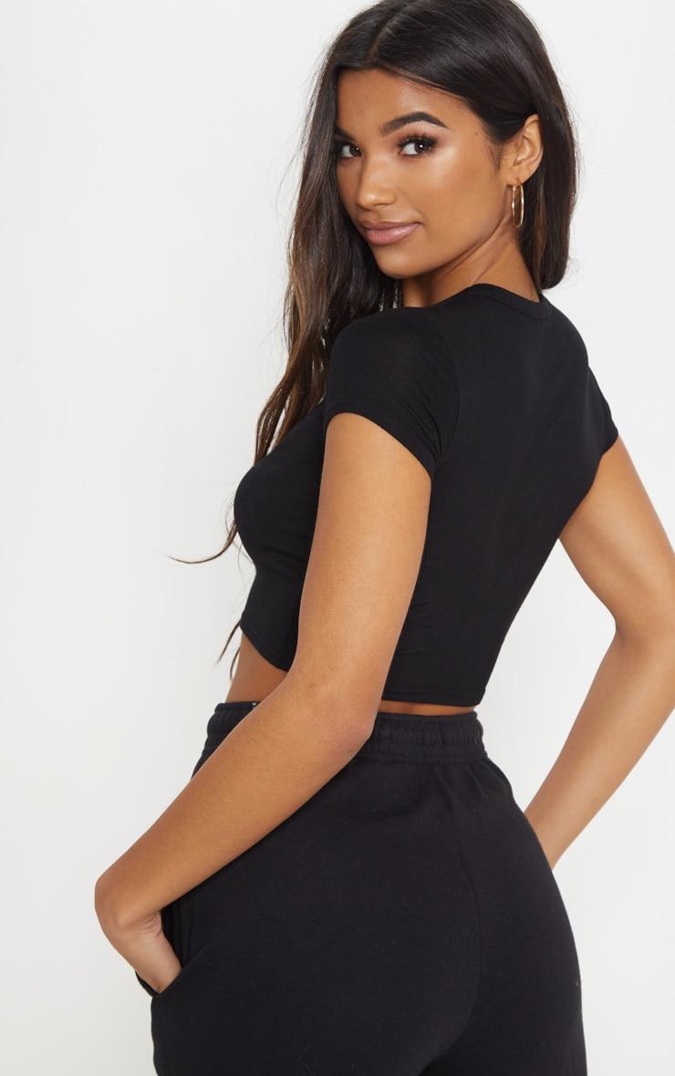 Basic Black Short Sleeve Crop Tshirt 2