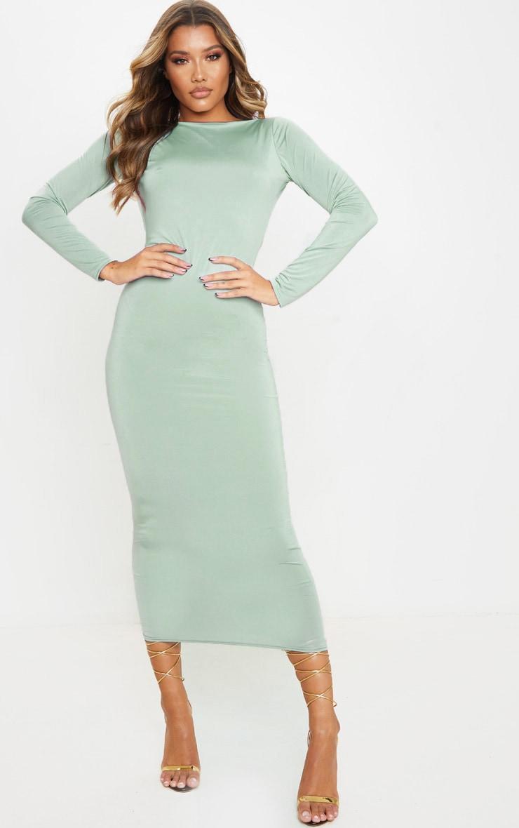 Sage Green Slinky Low Back Long Sleeve Midi Dress 3
