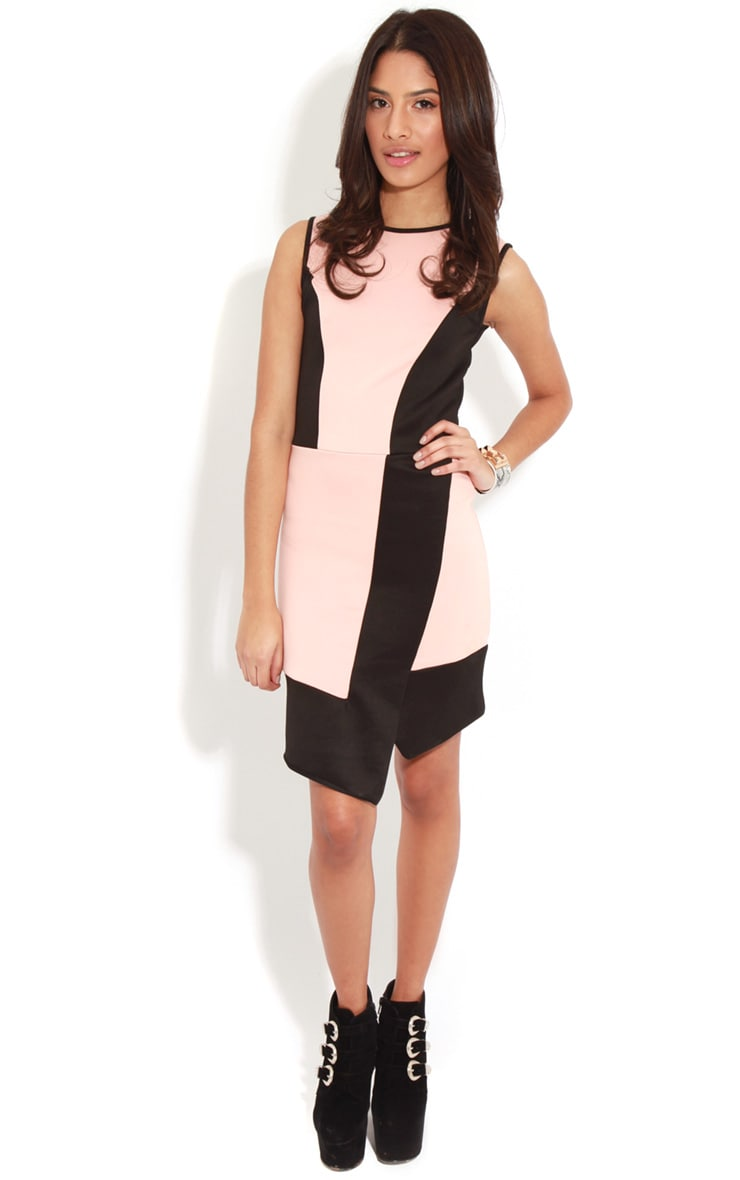 Reanne Pink Panelled Wrapover Dress 3