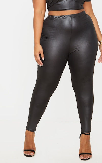 Plus Black Wet Look Legging