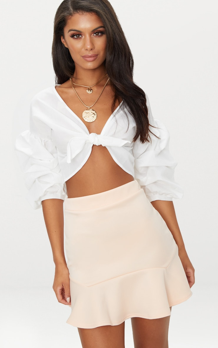 Nude Flippy Hem Mini Skirt 1