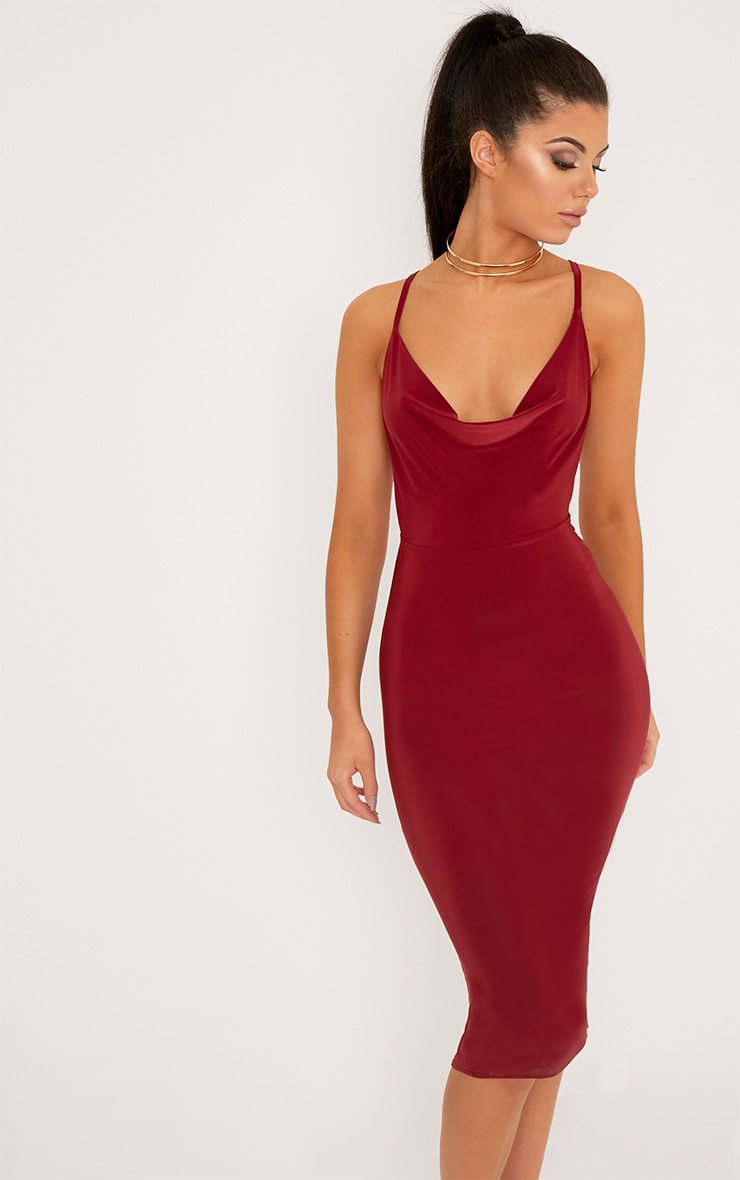 Burgundy Cross Back Cowl Neck Slinky Midi Dress